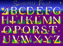Summer Font. Yellow houses on the night beach Stock Images