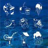 Summer food and drink Icons about travel Royalty Free Stock Photos