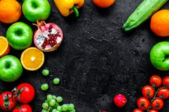 Summer food with fresh fruits and vegetables top view space for Royalty Free Stock Images