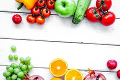 Summer food with fresh fruits and vegetables top view space for Stock Images