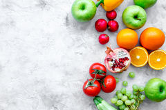 Summer food with fresh fruits and vegetables top view space for text Royalty Free Stock Image