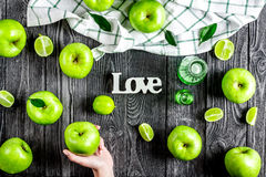 Summer food with green apples and love on dark background top vi Stock Photography