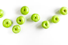 Summer food with green apples on white background top view mock up Stock Photo