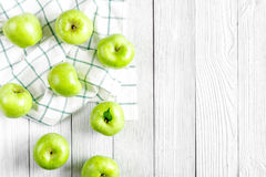 Summer food with green apples on white background top view mock up Stock Photography