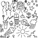 Summer food nature. Doodles sketch Royalty Free Stock Photo