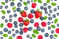 Free Summer Food Pattern With Fresh Berries Isolated On White Background, Top View. Strawberry, Raspberry, Mint Leaf. Mix Berry  Flat Stock Images - 173622144