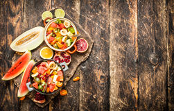 Summer food . Salad of tropical fruits. Stock Photo