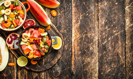 Summer food . Salad of tropical fruits. Stock Photography