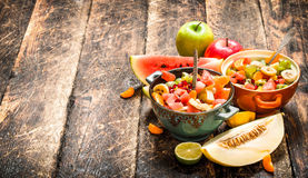 Summer food . Salad of tropical fruits. Stock Image