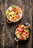 Summer food . Salad of tropical fruits. Royalty Free Stock Photography