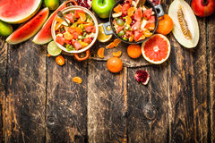 Summer food . Salad of tropical fruits. Royalty Free Stock Photos