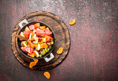 Summer food. Tropical salad of exotic fruits. Royalty Free Stock Images