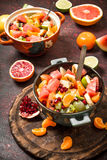 Summer food. Tropical salad of exotic fruits. Stock Photos