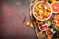 Summer food. Tropical salad of exotic fruits. Stock Photo