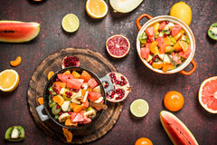 Summer food. Tropical salad of exotic fruits. Stock Image