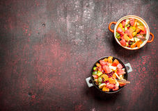 Summer food. Tropical salad of exotic fruits. Stock Photography