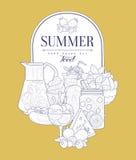 Summer Food Vintage Sketch Stock Images