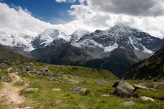 Summer footpath in the Alps Stock Image