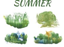 Summer forest, abstract drawing on white background. Group of objects stock illustration