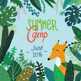 Summer forest camp banner or placard Stock Photography