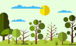 Summer forest flat background Royalty Free Stock Images