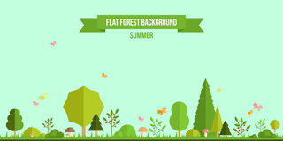 Summer forest flat background. Simple and cute landscape for your design Stock Photography