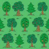 Summer forest-13. Green summer forest. Seamless pattern with trees. Hand drawn style. Design element for textile print or gift wrap stock illustration
