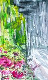 Summer forest landscape with birches, plants and flowers. Watercolor illustration.  vector illustration