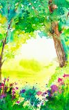 Summer forest landscape with trees, plants and flowers. Watercolor  illustration.  royalty free illustration