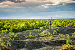 Summer forest landscape with a view of the mountain with a girl, Russia stock images
