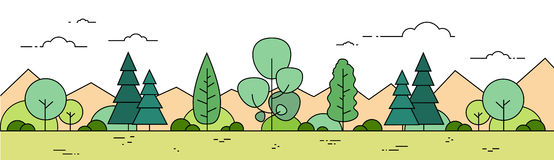 Summer Forest Mountain Landscape View Thin Line Banner stock illustration