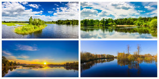 Summer Forest River With Reflection Of The Coast. Set, Collage Stock Image