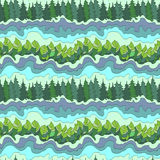 Summer forest and river seamless pattern. Vector background Stock Images