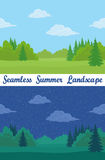 Summer Forest, Seamless Landscapes. Set of Horizontal Seamless Background Landscapes, Day and Night Summer Forest with Green Grass, Fir Trees, Clouds and Blue Stock Images