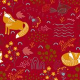 Summer forest seamless pattern background with a fox vector illustration