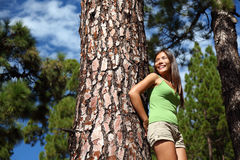 Summer forest woman smiling Stock Photography