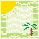 Summer frame. Green frame with palm tree and sun Stock Illustration