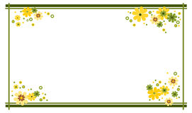 Summer frame. Frame decorated with flowers in summer colors yellow and green vector illustration