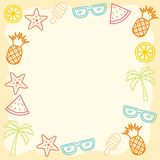 Colorful Summer Handrawn Border/Frame Background Stock Photography