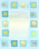 Summer frame background with suns, shells and scallops in square Royalty Free Stock Images