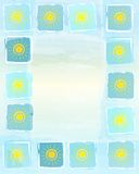 Summer frame background with yellow suns in squares. Abstract frame summer background with drawn yellow suns in squares over blue sky Royalty Free Stock Images