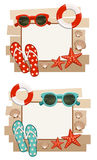 Summer frame with beach symbols. Royalty Free Stock Photos