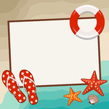 Summer frame with beach symbols. Stock Photo