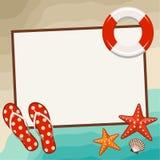 Summer frame with beach symbols. Stock Photo