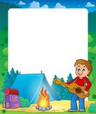 Summer frame with boy guitar player Stock Photography