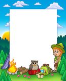 Summer frame with boy scout Royalty Free Stock Photo