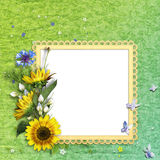 Summer frame with colorful flowers Stock Image
