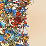 Summer frame. Doodles abstract decorative summer vector illustration frame Royalty Free Stock Images