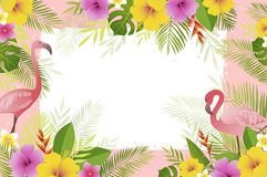 Summer frame with flamingo, palm leaves and tropical flowers. Vector floral banner template. vector illustration