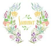 Summer Frame of flowers Stock Image